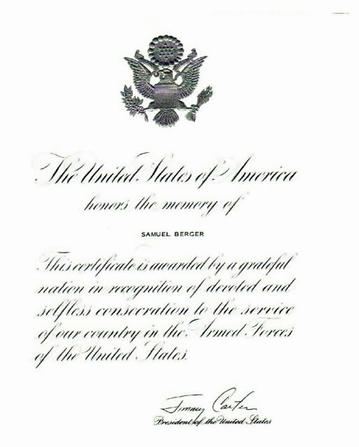 Certificate of Remembrance