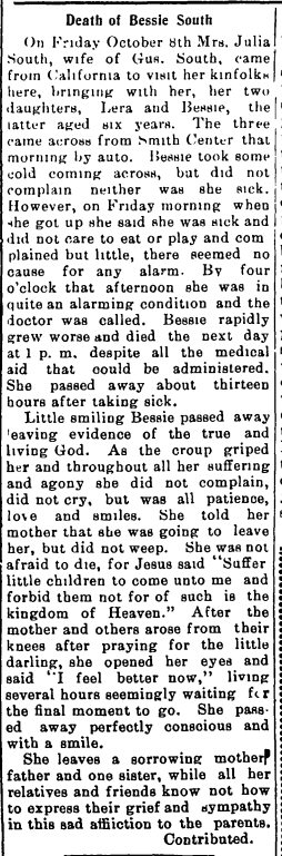Bessie South - death