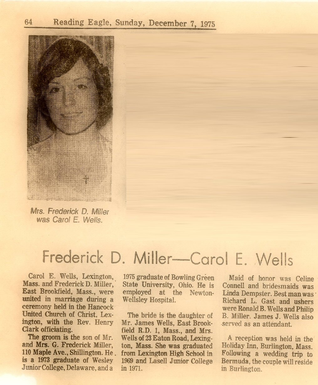 Miller, Fred & Carol (Wells) - marriage announcement