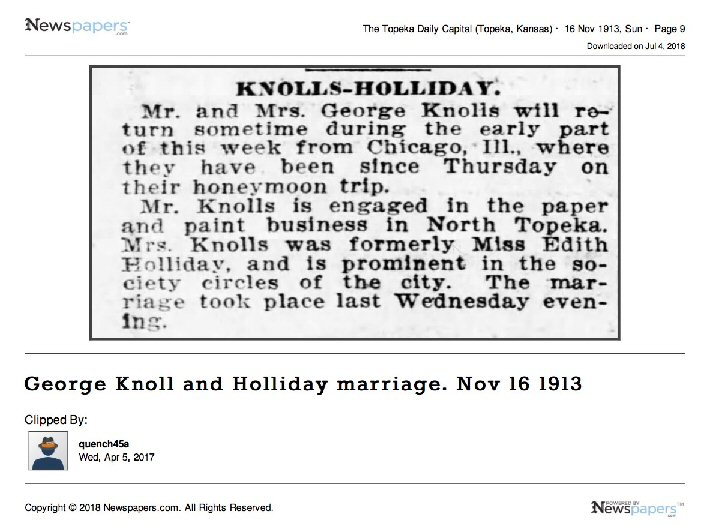 George Knoll & Holliday marriage
