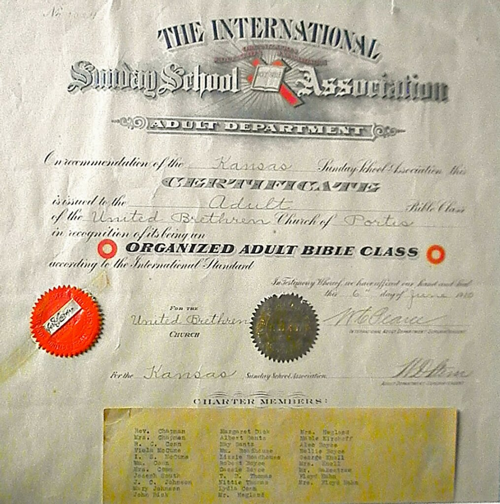 4. Mayflower Church Adult Sunday School Bible Class certificate, organized 6 June 1910.