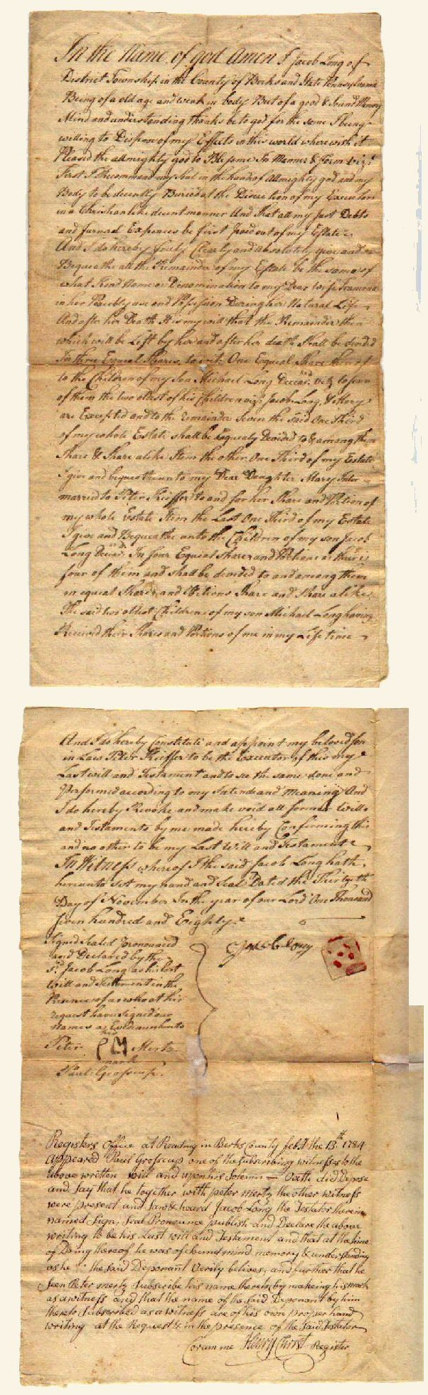Last Will & Testament, Jacob Long, District, 1784