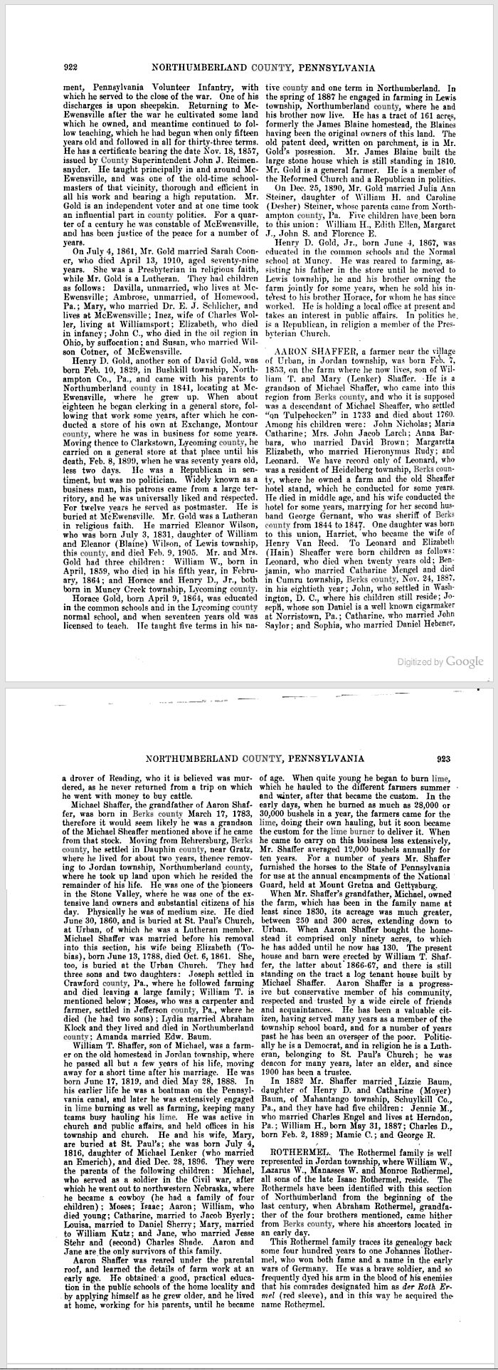 Genealogical and Biographical Annals of Northumberland County, p 922